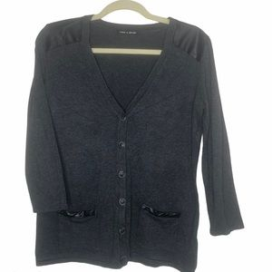 Cable & Gage Cardigan Sweater Faux Leather Trim MD